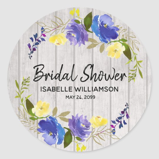 Rustic summer floral personalized bridal shower classic round sticker