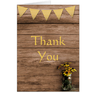 Rustic Sunflower and banners Thank you Card