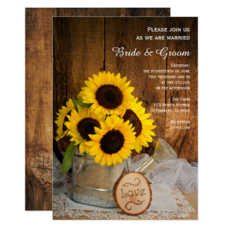 "Rustic Sunflower and Garden Watering Can Wedding 5"" X 7"" Invitation Card"