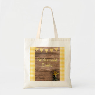 Rustic Sunflower and gingham wedding Tote Bag