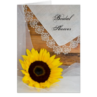 Rustic Sunflower and Lace Bridal Shower Invitation