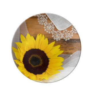 Rustic Sunflower and Lace Country Wedding Keepsake Plate