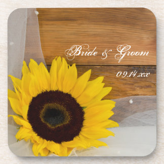 Rustic Sunflower and Veil Country Wedding Coaster