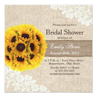 "Rustic Sunflower Balls Burlap Ribbon Bridal Shower 5.25"" Square Invitation Card"