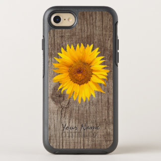 Rustic Sunflower Barn Wood with Name Vintage OtterBox Symmetry iPhone 8/7 Case