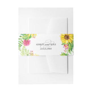 Rustic sunflower belly band on a white background invitation belly band