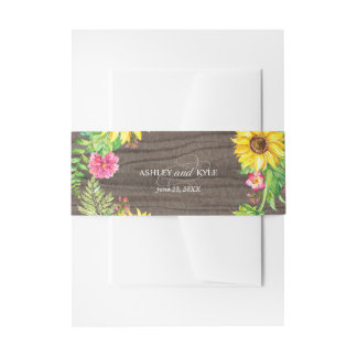Rustic sunflower belly band on a wood background invitation belly band
