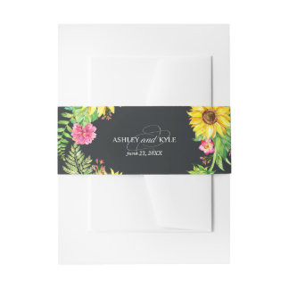 Rustic sunflower belly band on dark background invitation belly band
