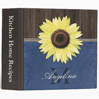 "Rustic Sunflower Blue Country 2"" Recipe Binder"