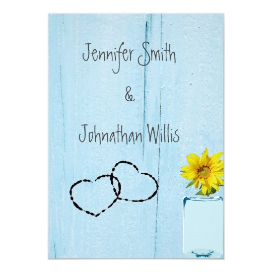 Rustic Sunflower Blue Wood Wedding Invitations