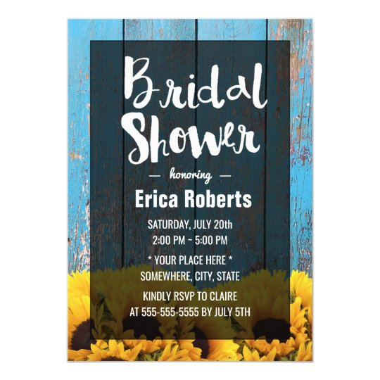 Rustic Sunflower Bridal Shower Country Barn Wood Card