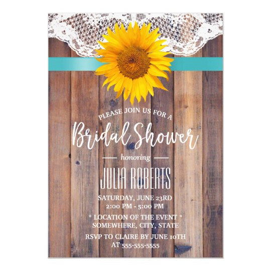Rustic Sunflower Bridal Shower Laced Barn Wood #2 Card