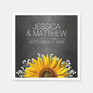 Rustic Sunflower Chalkboard Wedding Paper Napkins