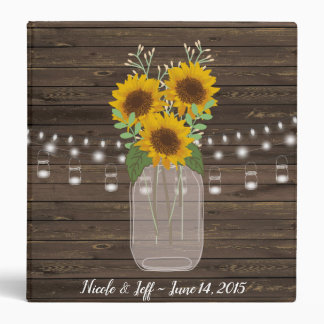 Rustic Sunflower Country Mason Jar Wedding Vinyl Binder