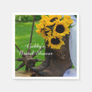 Rustic Sunflower Cowboy Boot Country Bridal Shower Paper Napkins
