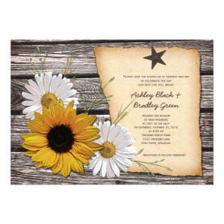 Rustic Sunflower Daisy Wedding Invitation