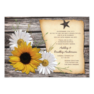 Rustic Sunflower Daisy Wedding Reception Only Card