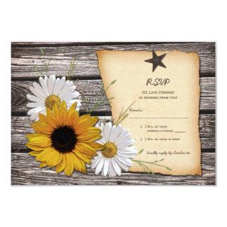 "Rustic Sunflower Daisy Wedding Reply Card 3.5"" X 5"" Invitation Card"