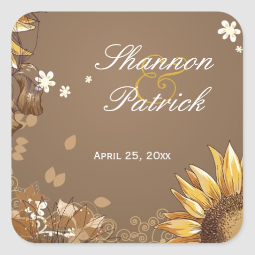Rustic sunflower floral taupe wedding sticker