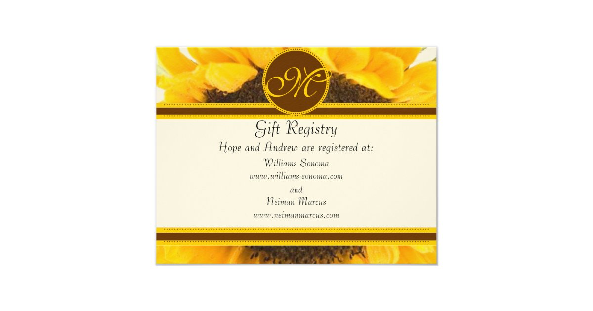 Wedding Gift Card Registry: Rustic Sunflower Gift Registry Wedding Insert Card