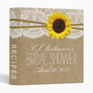 Rustic Sunflower Kraft & Lace Bridal Shower Recipe Binders