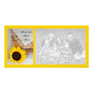 Rustic Sunflower Lace Country Wedding Thank You Personalized Photo Card