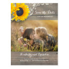 Rustic Sunflower Lace Photo Save the Date Postcard