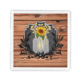Rustic Sunflower Mason Jar Acrylic Tray
