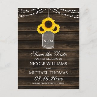 Rustic Sunflower Mason Jar Barn Wood Save the Date Announcement Postcard
