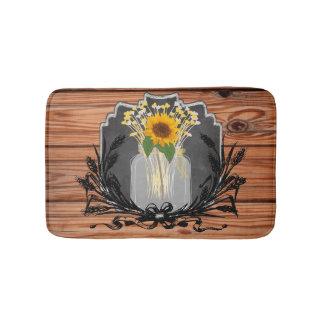 Rustic Sunflower Mason Jar Bathroom Mat