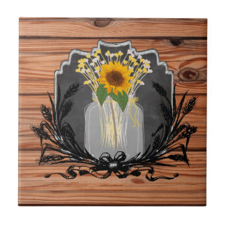Rustic Sunflower Mason Jar Ceramic Tiles