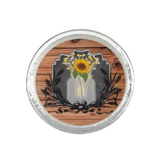 Rustic Sunflower Mason Jar Ring