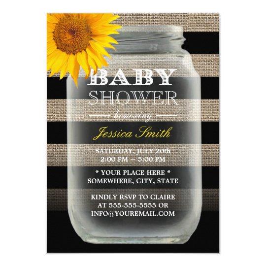 Rustic Sunflower Mason Jar & Stripes Baby Shower Card