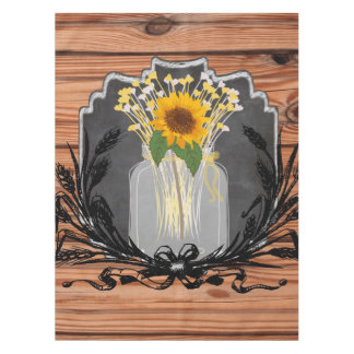 Rustic Sunflower Mason Jar Tablecloth