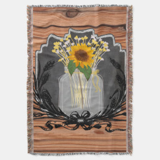 Rustic Sunflower Mason Jar Throw Blanket