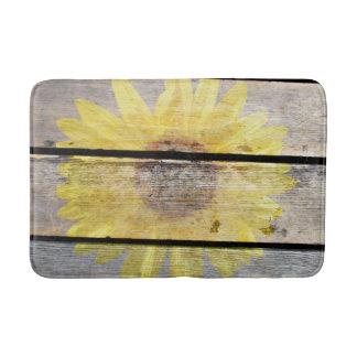 Rustic Sunflower On Wood Bathroom Mat