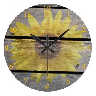 Rustic Sunflower On Wood Large Clock