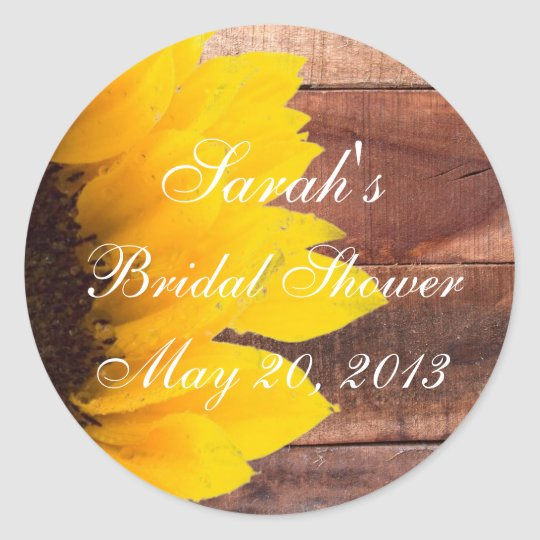 Rustic Sunflower Photo Bridal Shower Classic Round Sticker