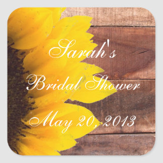 Rustic Sunflower Photo Bridal Shower Square Sticker