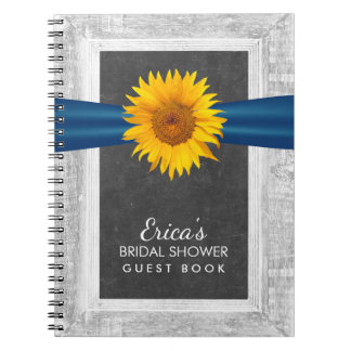 Rustic Sunflower Ribbon Bridal Shower Guest Book