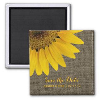 Rustic Sunflower Save the Date Burlap Wedding Magnet