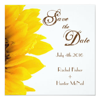 Rustic Sunflower Save the Date Card