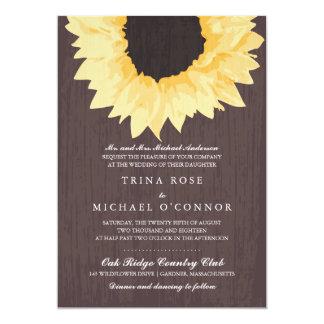 "Rustic Sunflower Splendor  | Wedding 5"" X 7"" Invitation Card"