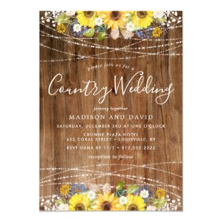 Rustic Sunflower String Lights Country Wedding Card