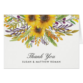 Rustic Sunflower Thank you Card