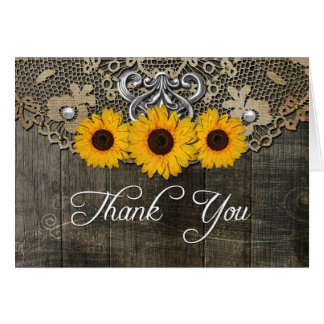 Rustic Sunflower Thank You Card 5x7