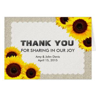 Rustic sunflower thank you sunflower1 card