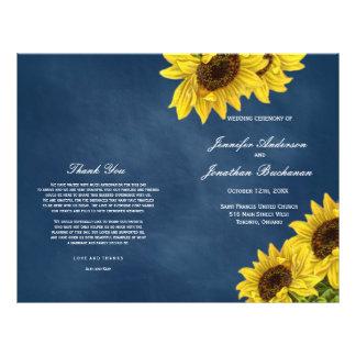 Rustic Sunflower Wedding Programs on Navy Blue