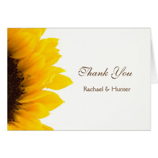 Rustic Sunflower Wedding Thank you Card