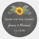 Rustic Sunflower Wedding thank you favour sticker